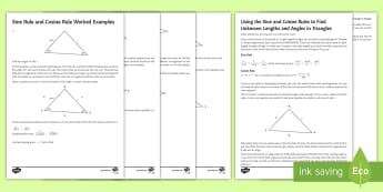 Using the Sine and Cosine Rule Revision Guide - triangles, mensuration, trigonometry, Angles, Sides, sin, cos, trig