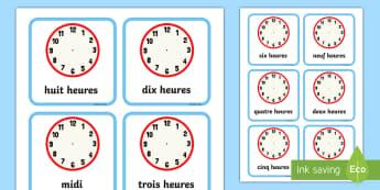Cartes à compléter : L'heure - cartes à compléter : l'heure, l'heure, heure, écriture, cartes, Write the Time O'clock Cards