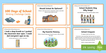 3-6 100 Days of School Writing Challenge Cards - writing, challenge cards, Yr 3, Yr 4, Yr 5, Yr 6,