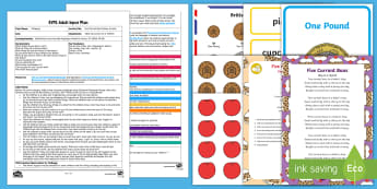 EYFS Five Currant Buns Money Activity Adult Input Plan and Resource Pack - Mathematics, number, playdough, bakers, shopkeeper, coins, shop, shopping