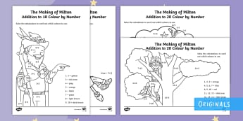 The Making of Milton Addition Colour by Number - The Making of Milton, EYFS, KS1, addition to 10, addition to 20, calculations, colour by number, add