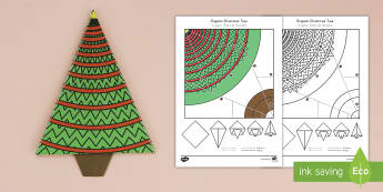 Simple Origami Christmas Tree Paper Craft US English/Spanish (Latin) - christmas party, paper craft, paper craft, christmas, eal, esl