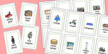 Three Syllable 'TR' Playing Cards - tr sound, syllable, playing cards, sound