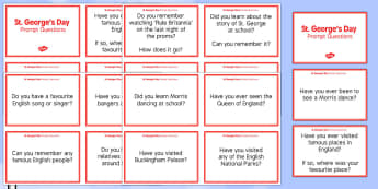 Elderly Care St George's Day Prompt Questions - Elderly, Reminiscence, Care Homes, St. George's Day