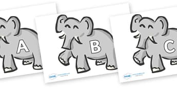 A-Z Alphabet on Elephants - A-Z, A4, display, Alphabet frieze, Display letters, Letter posters, A-Z letters, Alphabet flashcards