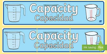 Capacity Display Banner English/Spanish - Capacity Display Banner - displays, banners, measure, visual aid, capactiy, capasity, capcity, capac
