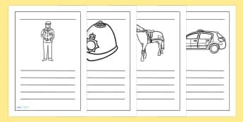 Police Writing Frames - police, writing, write, literacy, border
