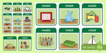 UAE Year 3 Money Toy Shop Labels AED - UAE Year 3 Money, dirhams, dinah, money problems, money resources uae