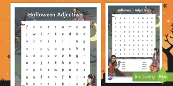 Halloween Adjectives Differentiated Word Search - october, describing words, spooky, fun, english,irish
