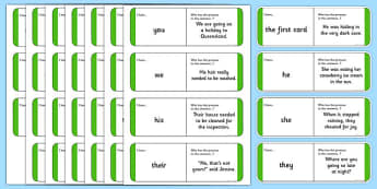 Australian Year 2 Pronouns Loop Cards - australia, Phonics, grammar, language, literacy, pronouns, loop cards, talking, listening, ACELA1452