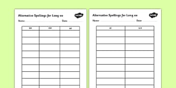 Alternative Spellings for Long oo Table Worksheets - alternative spellings for oo, table worksheet pack, table worksheet, oo worksheet