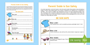 Parents' Guide to Sun Safety Parent and Carer Information Sheet - help, advice, wellbeing, health, parents, sun safety, heat, sunburn, hot, summer, weather, parents g