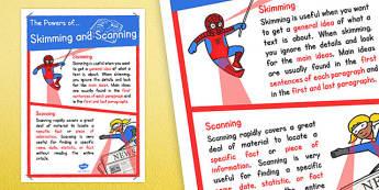 Skimming and Scanning Poster - skimming, scanning, poster, display