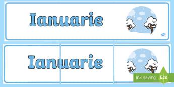 Ianuarie Banner - lunile anului, decorul clasei, activități, panoul clasei, activități lunare,Romanian