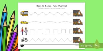 Back to School Pencil Control Activity Sheet - USA Back to School, USA Beginning of School, USA First Day of School, worksheet, Back to School Acti