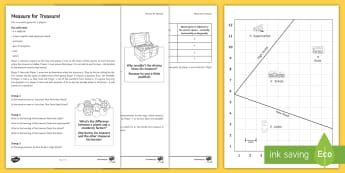 Measure for Treasure Game  Activity Sheets - KS3/4 Maths Volume, Bearings, Back Bearings, Perpendicular Bisector, worksheets, Angle Bisector, Loc