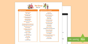 The Circus Book List - EYFS, Early Years, Circus, big top, clowns, ringmaster, acrobats, juggler, Literacy, fiction, non-fi