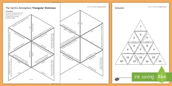 Earth's Atmosphere Tarsia Triangular Dominoes - Tarsia, gcse, chemistry, atmosphere, earth, earths atmosphere, earth's atmosphere, atmosphere compo, plenary activity