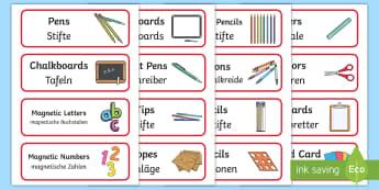 Red Writing Area Resource Labels English/German - classroom, organisation, label, EAL, German, English-German,,German-translation