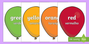 Colour Words on Balloons English/Portuguese - Colour Word Balloons - colour baloons, colour, colouring, colour mixing, black, white, red, green, b