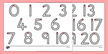 Number Formation 0-20 - one, tweny, numbers, pattern, sequence, numeracy, maths, visual aid, ks1, eyfs, formation writing, fine motor skills, australia,, overwriting