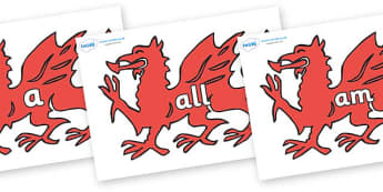Foundation Stage 2 Keywords on Welsh Dragons - FS2, CLL, keywords, Communication language and literacy,  Display, Key words, high frequency words, foundation stage literacy, DfES Letters and Sounds, Letters and Sounds, spelling