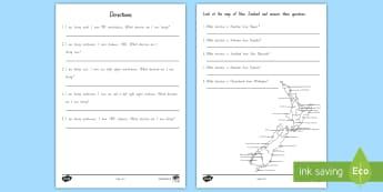 New Zealand Directions Activity Sheet - New Zealand Maths Worksheet, compass, directions, map, geometry, worksheet