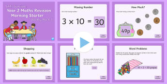 SATs Survival Year 2 Maths Revision (2) Morning Starter PowerPoint - SATs Survival Materials Year 2, SATs, assessment, 2017, English, SPaG, GPS, grammar, punctuation, sp