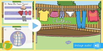 Presentación con audio: La ropa - Inglés - clothes, lengua extranjera, inglés, english, audio, ,Spanish-translation