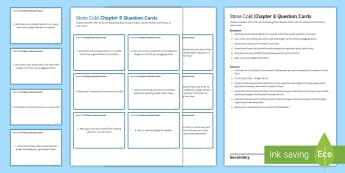 Chapter 8 Question Cards to Support Teaching on 'Stone Cold' by Robert Swindells - Swindells, Comprehension, Shelter, Link, Assess, shelter