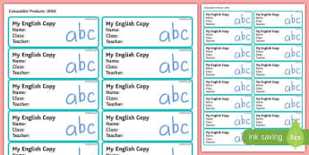 Pupil English Copybook Labels-Irish
