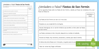 San Fermin Festivities Spanish True or False Activity Sheet - true, false, worksheet, reading, comprehension, translation, spot, mistakes, pamplona, navarra, spai