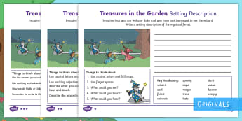 Treasures in the Garden Wizard Setting Description Activity Sheets - setting, describe, magic, spell, writing, worksheets