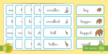 Tarjetas de vocabulario: Tamaños - Inglés - size, lengua extranjera, inglés, english, vocabulary,Spanish-translation