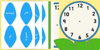 Étiquettes de mots pour horloge analogique en forme de fleur - french, time, maths, classroom, visual aid, numeracy, Heure, horloge, pendule, analogique