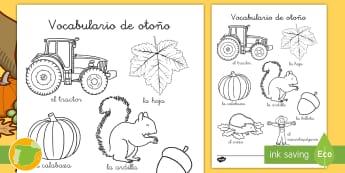Hoja de colorear de vocabulario: Otoño - estaciones, pintar, colorea, plástica, vocabulario, palabras,,Spanish