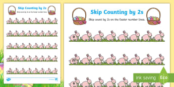 Easter Skip Counting by 2s Activity Sheet - Australia Easter Maths, easter, australia, mathematics, Worksheet, skip counting, number lines, coun