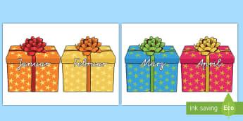 Jahresmonate auf Geschenken Motive zum Ausschneiden für die Klassenraumgestaltung - Jahresmonate, januar, februar, dezember, marz