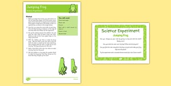 EYFS Jumping Frog Science Experiment and Prompt Card Pack - static electricity, static, electric, electron, frog, life cycle, tadpole, frogspawn, pd, moving, movement, physical, pe