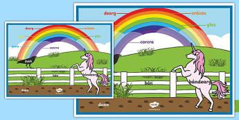 Póster Colores del arco iris - irlandés-Spanish
