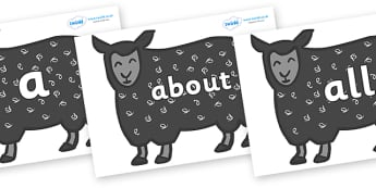 100 High Frequency Words on Black Sheep to Support Teaching on Brown Bear, Brown Bear - High frequency words, hfw, DfES Letters and Sounds, Letters and Sounds, display words