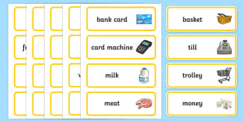 Supermarket Word Cards - supermarket, word, cards, word cards
