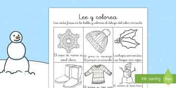 El invierno Ficha de leer y colorear - comprension lectora, lectura, lecto, pintar, comprender, Spanish