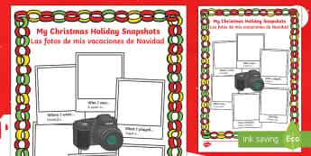 Christmas Holiday Snapshots Writing Frames English/Spanish - Christmas Holiday Snapshots Writing Frame - christmas, holiday, EAL