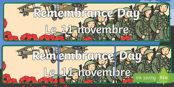 Remembrance Day Display Banner English/French - remembrance day, display, banner, remembering the fallen, remembering soldiers