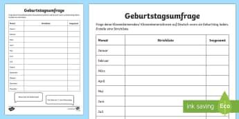 Birthday Class Survey Activity Sheet German - Birthday, Tally Chart, German, worksheet, class