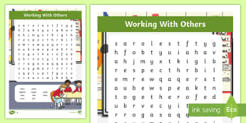 NI Thinking Skills and Personal Capabilities Working with Others Differentiated Word Search - TSPC, Success Criteria, Northern Ireland, Curriculum, Targets