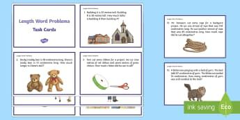 Length Word Problems Task Cards - Common Core, Second Grade, Measurement, Length, centimetres, cm, metres