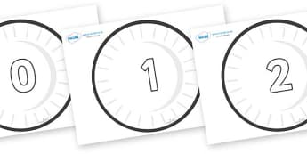 Numbers 0-50 on Circles (Plain) - 0-50, foundation stage numeracy, Number recognition, Number flashcards, counting, number frieze, Display numbers, number posters