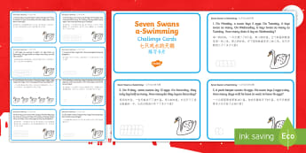 Seven Swans Swimming Challenge Cards English/Mandarin Chinese - Christmas Maths, reason, reasoning, work out, find, solve, days of the week, Monday, Tuesday, Wednes